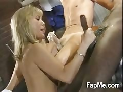 Hot MILF gives adherent up four piping hot guys