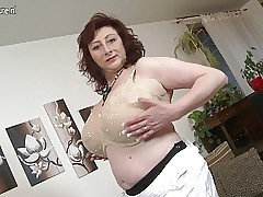 Of age housewife on touching bulky gut with an increment of itchy cunt